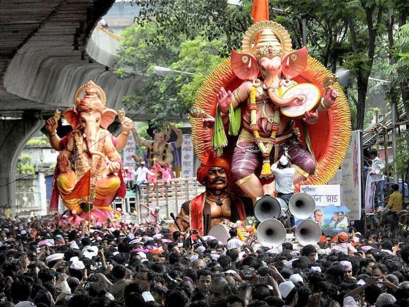 Ganesh idols on the way for immersion at Girgaum Chowpatty at the end of the ten-day long Ganesh festival, in Mumbai.