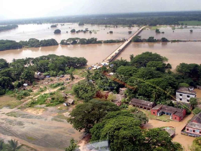 An aerial view of a flood affected village in Kendrapada district in Orissa.