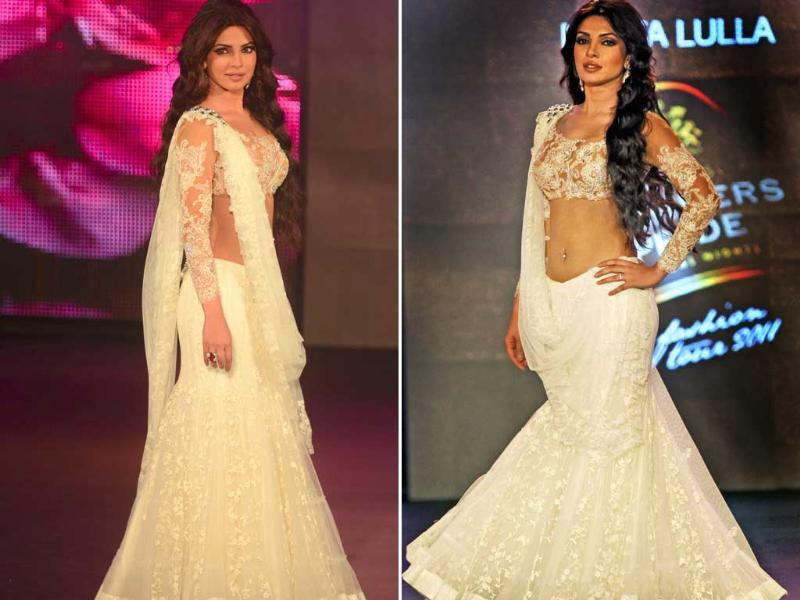 Actor Priyanka Chopra walks the ramp in a Neeta Lulla ensemble at the Seagram's Blenders Pride Fashion tour at Kolkata. Watch ivory blend with coffee as the actress stops the show.