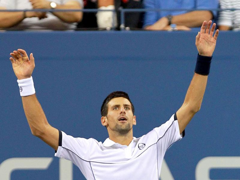 Djokovic reacts after he won match point against Rafael Nadal during the men's US Open 2011 final at the USTA Billie Jean King National Tennis Center in New York City.