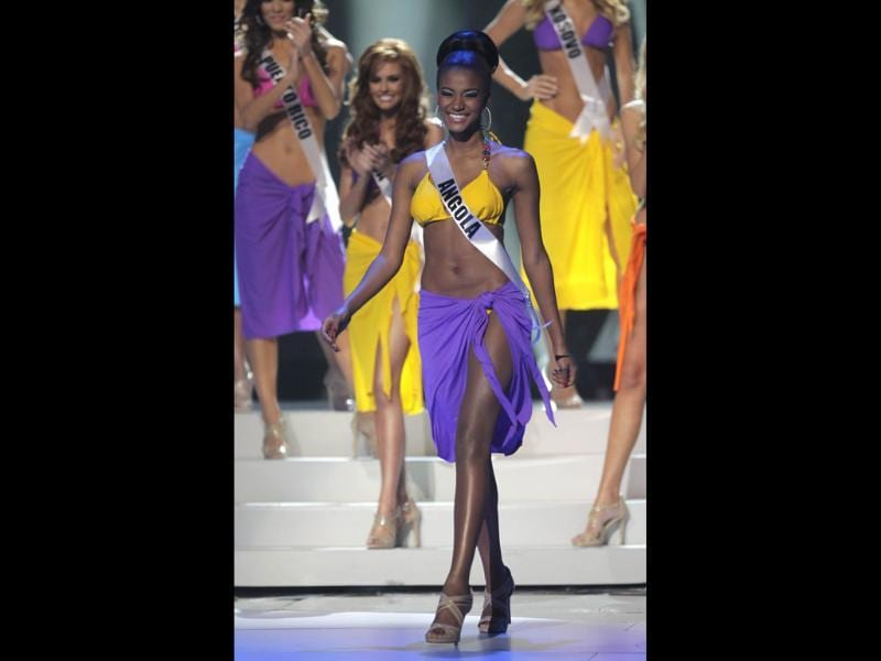 Miss Angola Leila Lopes looks chic in the swimsuit as she steps forward after being named a finalist.