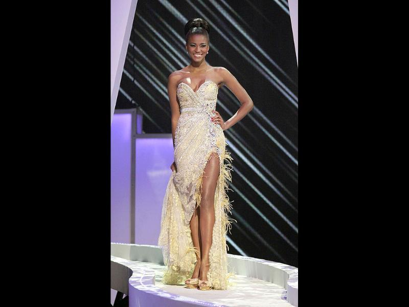 Miss Angola Leila Lopes participates in the evening gown segment of the Miss Universe 2011 pageant.