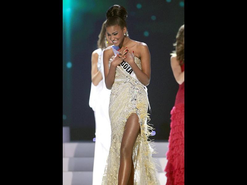 Miss Angola Leila Lopes seems overwhelmed as she steps forward after being chosen among the final five contestants of the Miss Universe 2011 pageant.