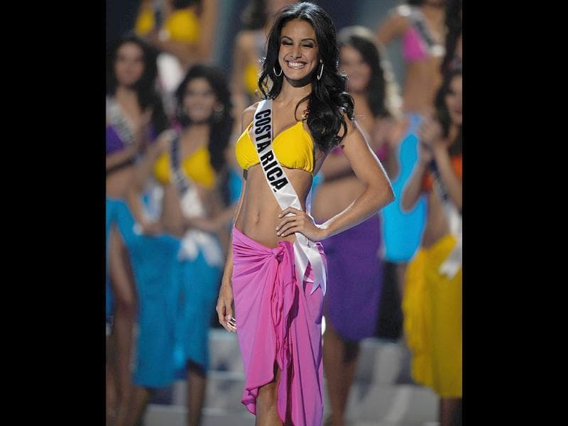 Miss Costa Rica 2011, Johanna Solano, is all smiles during the swimsuit competition of the 60th annual Miss Universe beauty pageant.