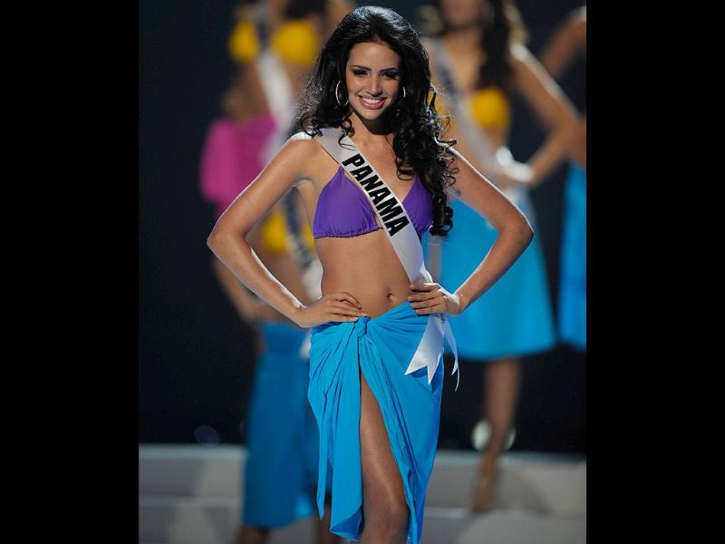 Miss Panama 2011, Sheldry Saez, participates in the swimsuit competition of the 60th annual Miss Universe beauty pageant.