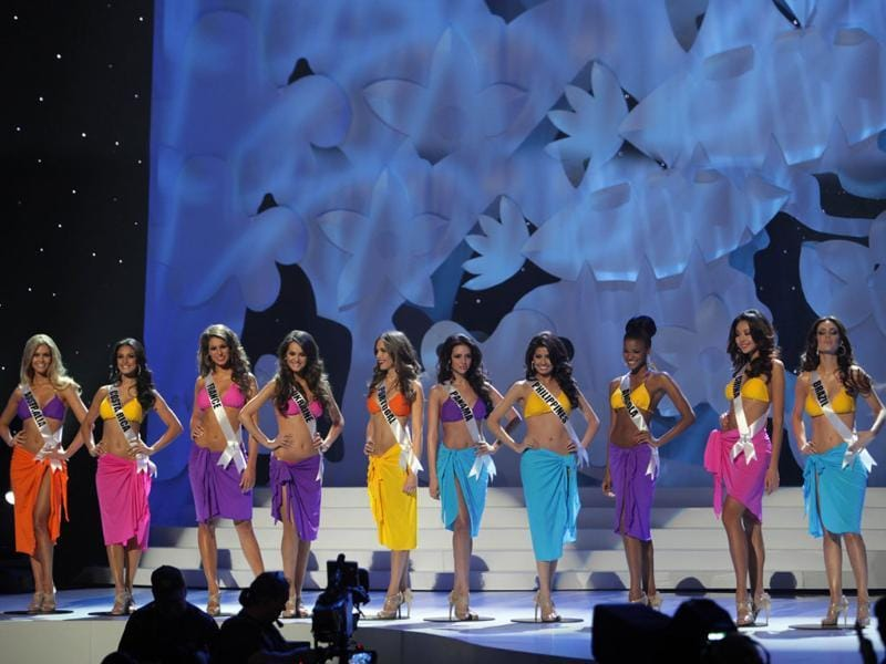 The top ten finalists: (L to R) Miss Australia Scherri-lee Biggs Miss Costa Rica Johanna Solano, Miss France Laury Thilleman, Miss Ukraine Olesia Stefanko, Miss Portugal Laura Goncalves, Miss Panama Sheldry Saez, Miss Philippines Shamcey Supsup, Miss Angola Leila Lopes, Miss China Luo Zilin and Miss Brazil Priscila Machado.