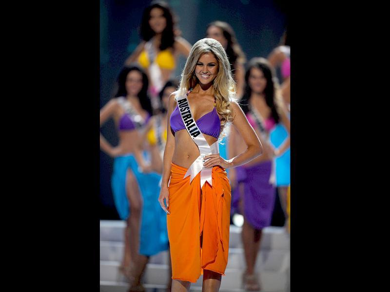 Miss Australia 2011, Scherri-Lee Biggs, participates in the swimsuit competition of the 60th annual Miss Universe beauty pageant.