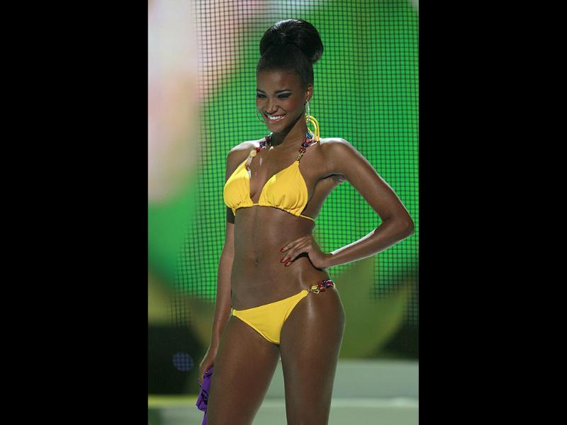 Miss Universe winner Miss Angola Leila Lopes is seen in canary-coloured bikini in the swimsuit segment of the Miss Universe 2011 pageant in Sao Paulo.
