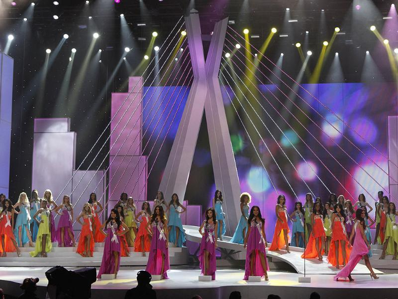 Miss Universe 2011 contestants stand on stage during the pageant in Sao Paulo September 12, 2011.