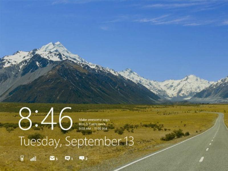The Lock Screen - Your personalised lock screen shows you unread emails and other app notifications. The image shown here is a photo of the road leading to Mt. Cook National Park in New Zealand.