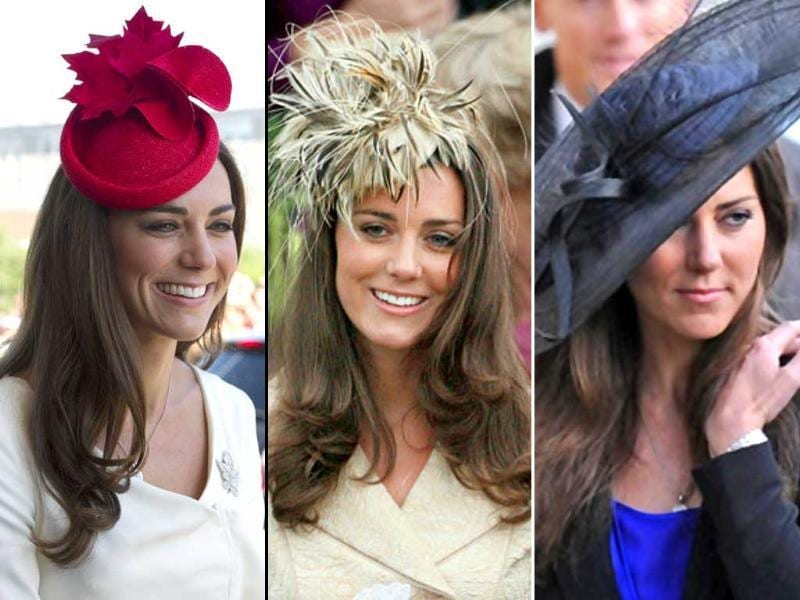Kate adds a touch of whimsy to her ususally sober style with interesting hats.