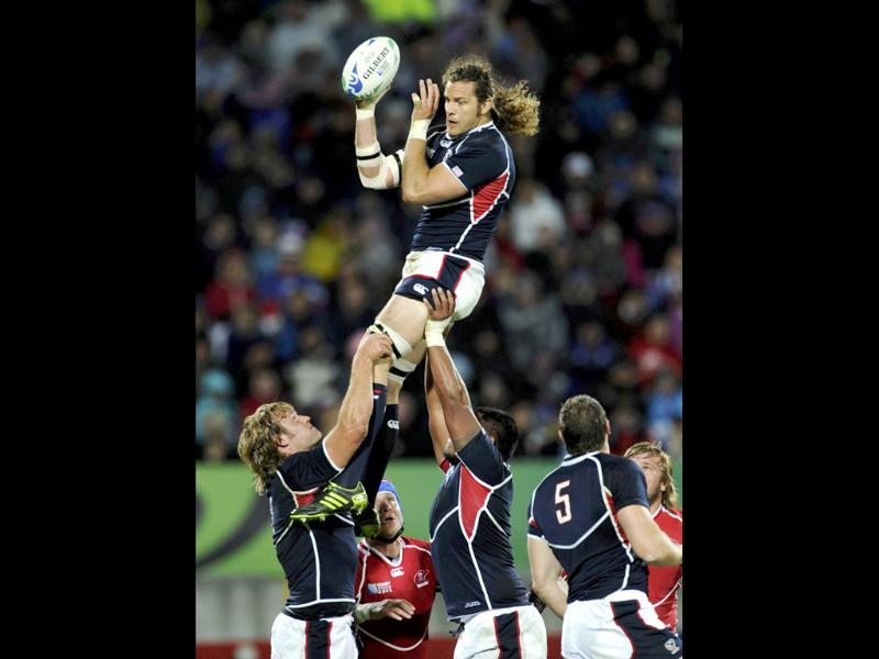 US captain Todd Clever wins a line out during their Rugby World Cup Pool C match against Russia at Stadium Taranaki in New Plymouth.