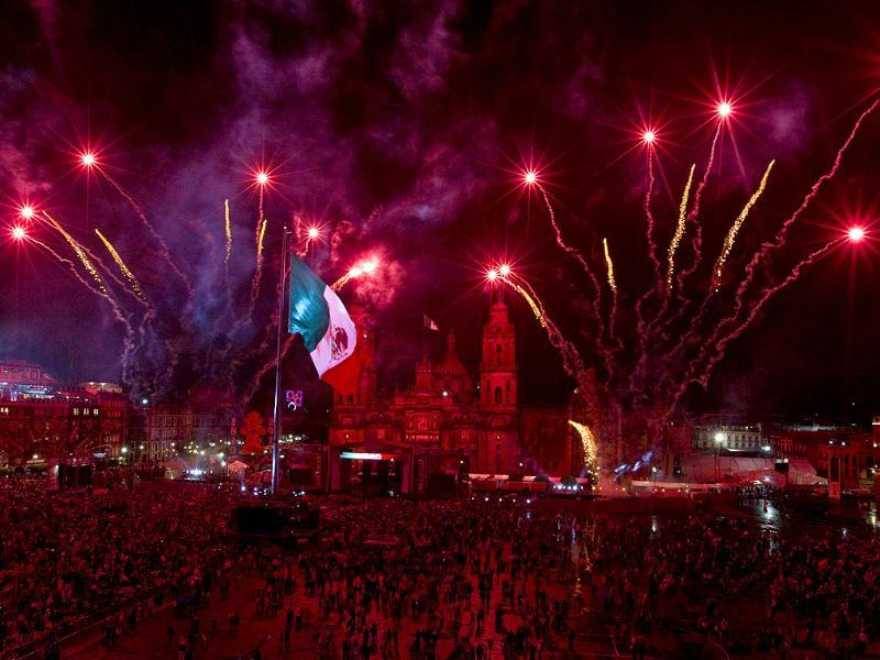 Fireworks are launched for the Independence Day celebrations in the Zocalo in Mexico City.