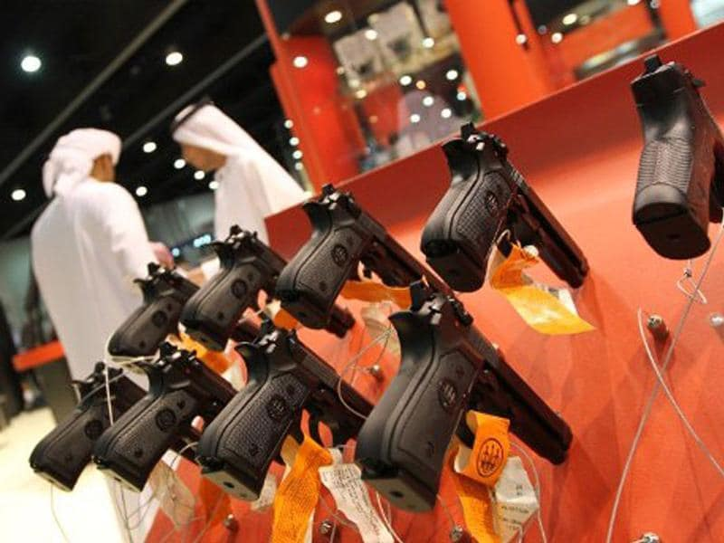 Hand guns are on display at the 17th Abu Dhabi International Hunting and Equestrian exhibition (ADIHEX).