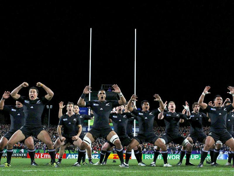 All Blacks perform the haka before the 2011 Rugby World Cup pool A match New Zealand vs Japan at Waikato stadium in Hamilton