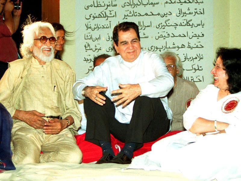 MF Husain in a candid mood with Bollywood actor Dilip Kumar.