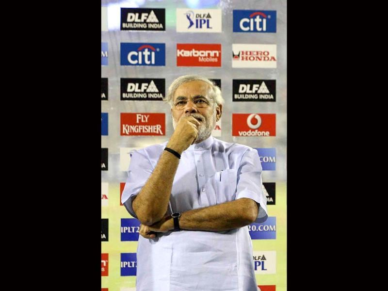 Gujarat CM Narendra Modi during the IIC cricket world cup quarter final match between India and Australia at Sardar Patel stadium in Ahmedabad. HT photo by Santosh Harhare.