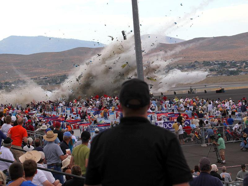 A P-51 Mustang airplane crashes into the edge of the grandstands at the Reno Air show in Reno Nevada.