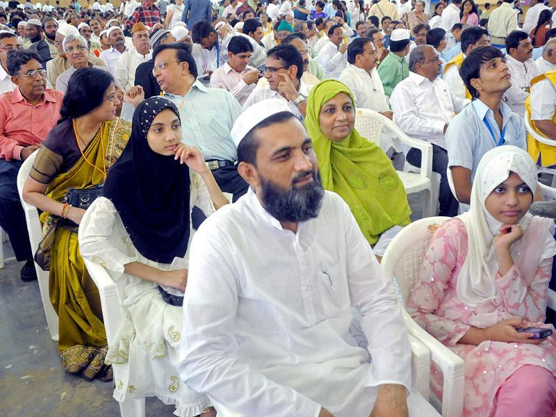 Muslims (foreground) among others attend Gujarat chief minister Narendra Modi's three-day 'sadbhavna' fast for peace and harmony in Ahmedabad.