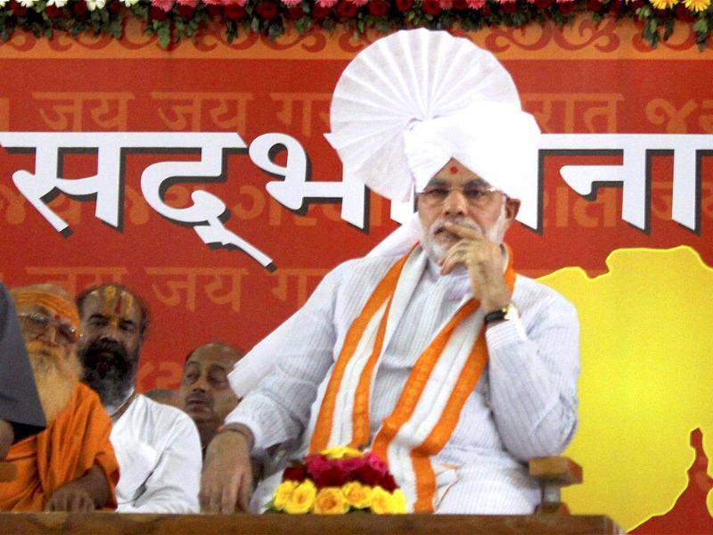 Gujarat chief minister Narendra Modi during his three-day 'sadbhavna' fast for peace and harmony, in Ahmedabad.