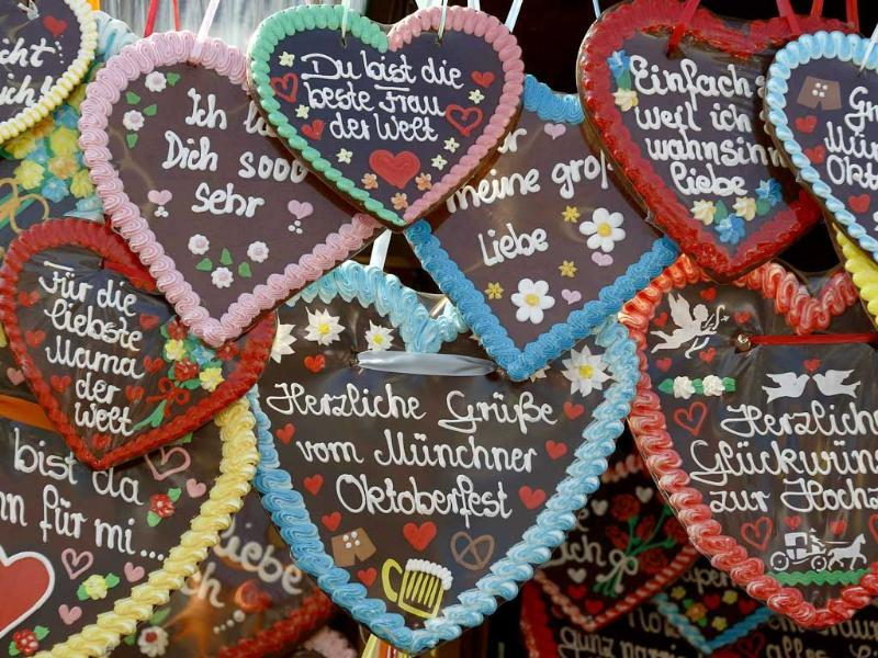 Traditional ginger bread hearts are on sale at the World's biggest beer fest, the Munich Oktoberfest, at the Theresienwiese in Munich. The world's biggest beer fest runs until October 3.