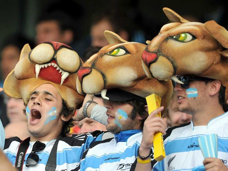 Argentina fans cheer during the 2011 Rugby World Cup pool B match Argentina vs Romania at the Rugby Park stadium in Invercargill.