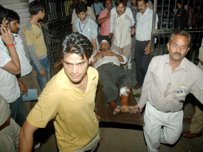 An injured being taken away from the site of explosion at Jai Hospital in Agra.