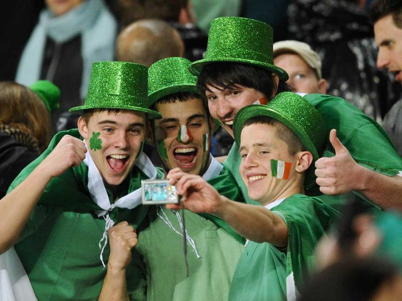 Ireland fans react after the 2011 Rugby World Cup pool C match Australia vs Ireland at Eden Park in Auckland.