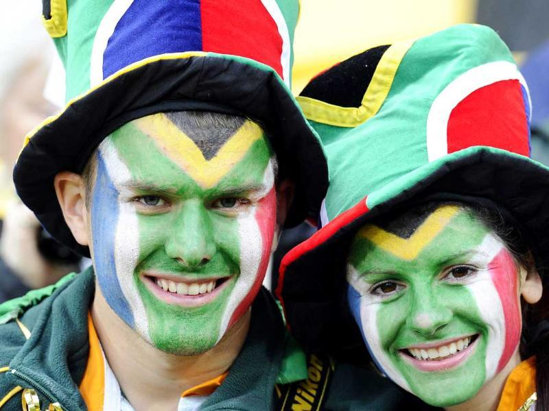 Fans attend the 2011 Rugby World Cup pool D match Fiji vs South Africa at Wellington Regional Stadium.