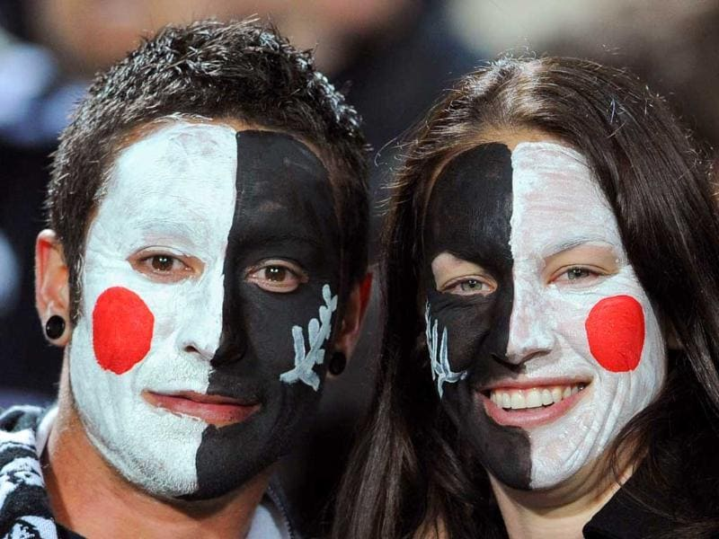 Supporters are seen before the 2011 Rugby World Cup pool A match New Zealand vs Japan at Waikato stadium in Hamilton.
