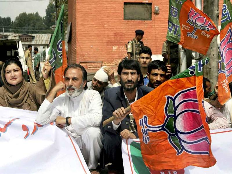 Activists of Bharatiya Janata Party (BJP) holding banners and flags during their three hour fast to support Gujarat chief minister Narendra Modi's three-day 'Sadbhavna' fast for peace and harmony, at Lal Chowk in Srinagar.
