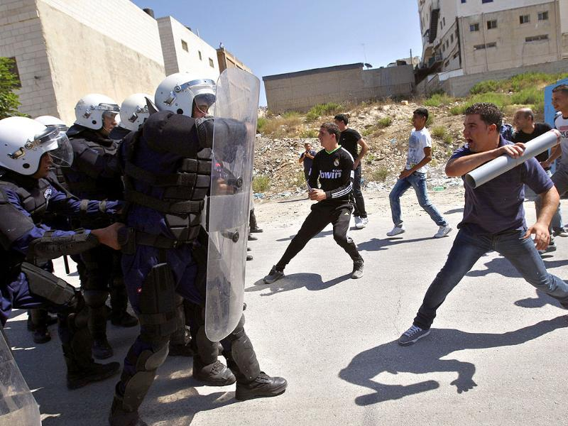 Palestinian anti-riot police forces participate in a training session in the West Bank city of Ramallah.