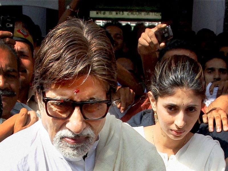 Actor Amitabh Bachchan with daughter Shweta Nanda comes out of AIIMS after meeting MP Amar Singh in New Delhi.