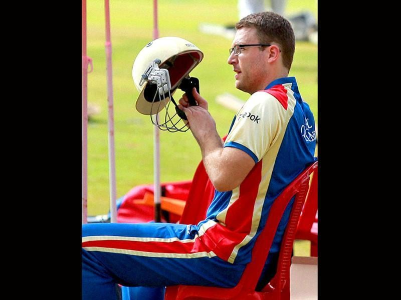 Royal Challengers Bangalore skipper Daniel Vettori during a practice session for Champions League 2011 at National Cricket Academy ground in Bangalore.