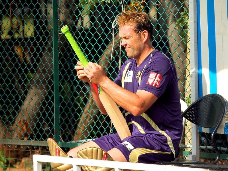 Kolkata Knight Riders player Jacques Kallis checks his bat during net practice session for Champions League T20 in Hyderabad.
