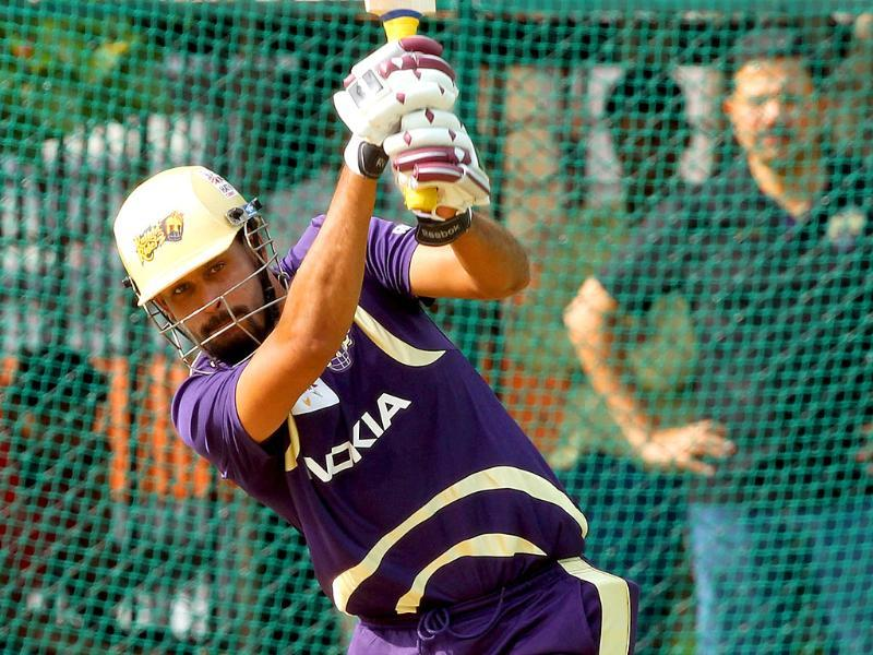 Kolkata Knight Riders player Yusuf Pathan bats during net practice for Champions League T20 in Hyderabad.