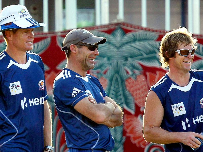Mumbai Indians fielding coaches during a practice session for Champions League 2011 at MAC Stadium in Chennai.