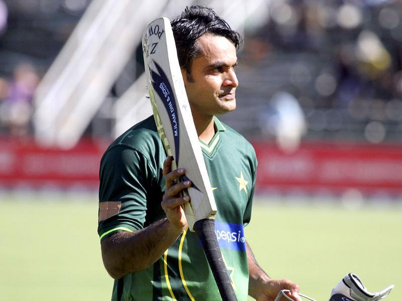 Pakistan batsman Mohammed Hafeez walks off the pitch after being dismissed on the second and final day of the twenty20 match series against Zimbabwe in Harare.