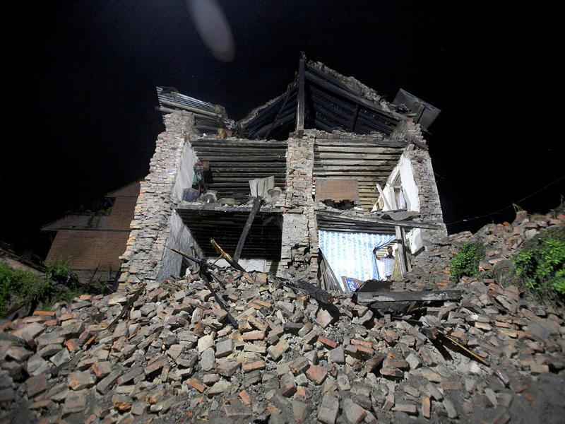 A house, that has been destroyed by the 6.8 magnitude earthquake that struck Kathmandu, is seen in Bhaktapur.