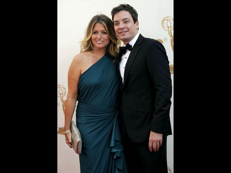 Jimmy Fallon and Nancy Juvonen arrive at the 63rd Primetime Emmy Awards. (AP)