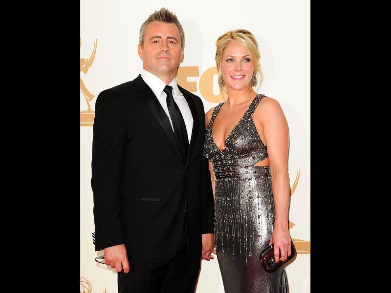 Actor Matt LeBlanc and wife Missy McKnight arrive at the 63rd annual Primetime Emmy Awards. (AFP)