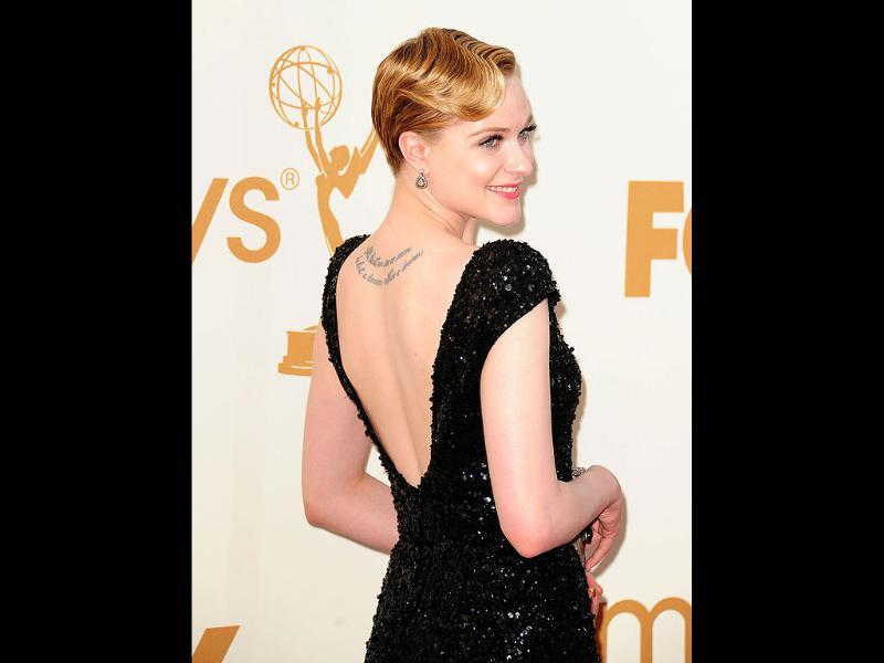 Actor Evan Rachel Wood dazzles in black at the 63rd annual Primetime Emmy Awards. (AFP)