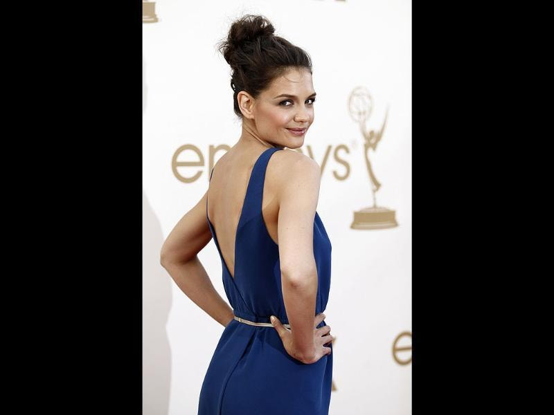 Katie Holmes arrives at the 63rd Primetime Emmy Awards in Los Angeles. (AP)