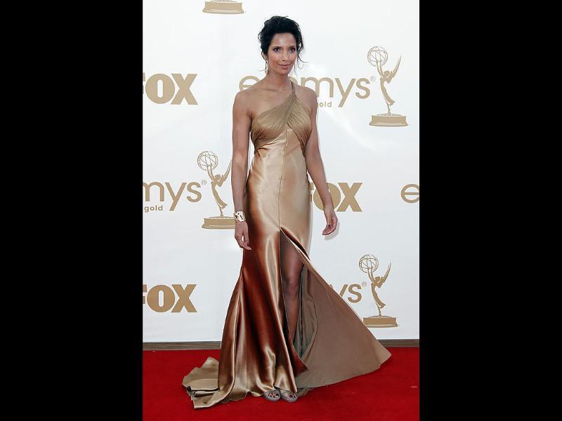 Padma Lakshmi from Top Chef arrives at the 63rd Primetime Emmy Awards. (Reuters)