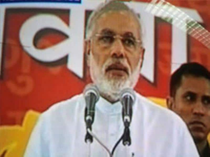Gujarat chief minister Narendra Modi is seen in this TV grab.