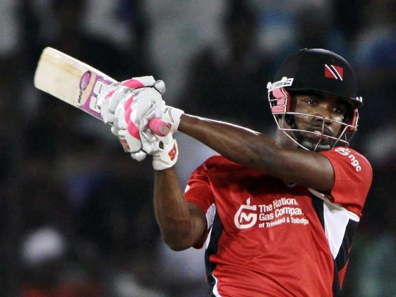 Trinidad and Tobago batsman Darren Bravo plays a shot during the Champions League Twenty20 qualifying match against Ruhuna in Hyderabad.