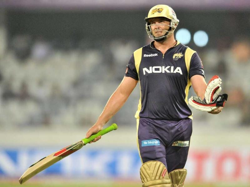 KKR batsman Jacques Kallis gestures after he was caught at the boundary during the Champions League Twenty20 qualifying cricket pool match between Kolkata Knight Riders and Auckland Aces at the Rajiv Gandhi International Stadium in Hyderabad.