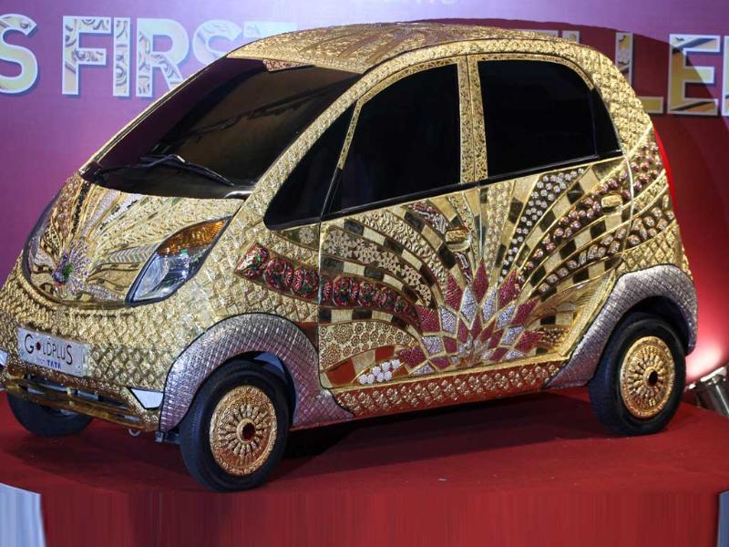 The launch of Goldplus Nano Car at NCPA at Nariman Point.Goldplus Nano, world's first ever pure gold jewellery car is tribute to the nation acknowledging 5000 years of Indian jewellery making.