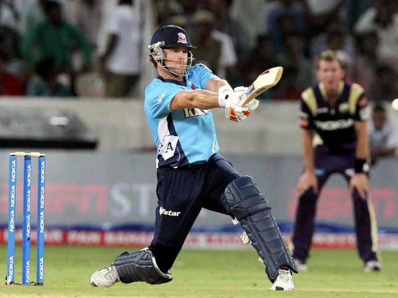Auckland Aces batsman L Vincent bats during the Champions League T20 match between Kolkata Knight Riders and Auckland Aces at the Rajiv Gandhi International Cricket stadium at Hyderabad.