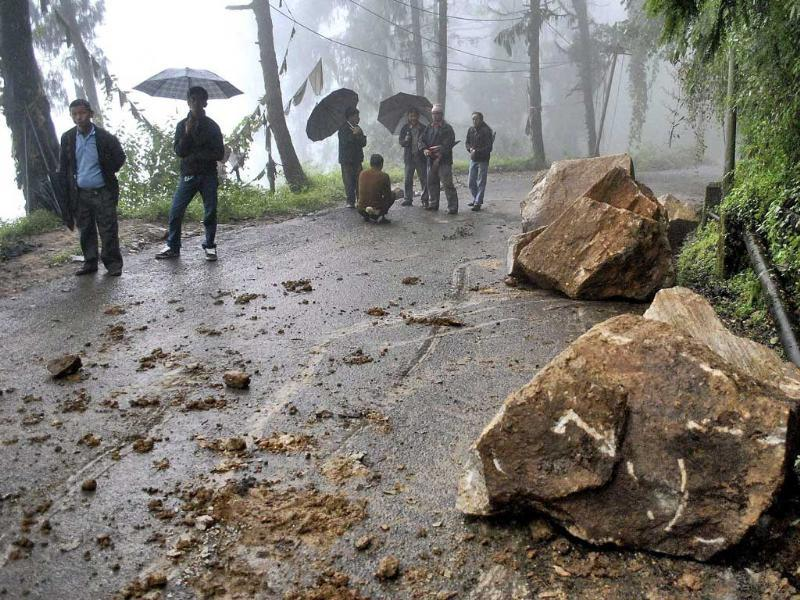 Boulders are seen on a road during after Sunday's earthquake in north Sikkim.